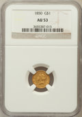 Gold Dollars: , 1850 G$1 AU53 NGC. NGC Census: (10/460). PCGS Population (19/297).Mintage: 481,953. Numismedia Wsl. Price for problem free...