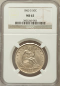 Seated Half Dollars, 1863-S 50C MS62 NGC. WB-102....