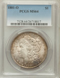 Morgan Dollars: , 1881-O $1 MS64 PCGS. PCGS Population (3324/561). NGC Census:(3919/489). Mintage: 5,708,000. Numismedia Wsl. Price for prob...
