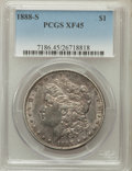Morgan Dollars: , 1888-S $1 XF45 PCGS. PCGS Population (166/6109). NGC Census:(85/3597). Mintage: 657,000. Numismedia Wsl. Price for problem...