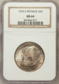 Commemorative Silver: , 1923-S 50C Monroe MS64 NGC. NGC Census: (1590/425). PCGS Population(1480/456). Mintage: 274,077. Numismedia Wsl. Price for...