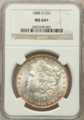 Morgan Dollars, 1888-O $1 MS64+ NGC. NGC Census: (9114/1366). PCGS Population(6847/1953). Mintage: 12,150,000. Numismedia Wsl. Price for p...