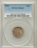 Barber Dimes: , 1905 10C MS63 PCGS. PCGS Population (40/92). NGC Census: (35/67).Mintage: 14,552,350. Numismedia Wsl. Price for problem fr...