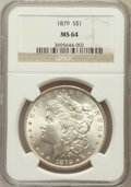 Morgan Dollars: , 1879 $1 MS64 NGC. NGC Census: (3738/771). PCGS Population(3367/1046). Mintage: 14,807,100. Numismedia Wsl. Price forprobl...