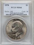 Eisenhower Dollars: , 1978 $1 MS66 PCGS. PCGS Population (340/5). NGC Census: (131/5).Mintage: 25,702,000. Numismedia Wsl. Price for problem fre...