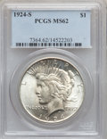 Peace Dollars: , 1924-S $1 MS62 PCGS. PCGS Population (737/2667). NGC Census:(624/1682). Mintage: 1,728,000. Numismedia Wsl. Price for prob...