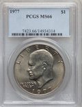 Eisenhower Dollars: , 1977 $1 MS66 PCGS. PCGS Population (806/14). NGC Census: (285/8).Mintage: 12,596,000. Numismedia Wsl. Price for problem fr...