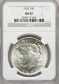 Peace Dollars: , 1924 $1 MS65 NGC. NGC Census: (7334/1415). PCGS Population(2904/537). Mintage: 11,811,000. Numismedia Wsl. Price for probl...