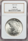 Peace Dollars: , 1925 $1 MS65 NGC. NGC Census: (9997/1782). PCGS Population(6863/1547). Mintage: 10,198,000. Numismedia Wsl. Price for prob...
