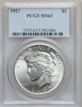 Peace Dollars: , 1927 $1 MS63 PCGS. PCGS Population (2283/1972). NGC Census:(1515/1084). Mintage: 848,000. Numismedia Wsl. Price for proble...