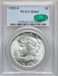 Peace Dollars: , 1922-S $1 MS64 PCGS. CAC. PCGS Population (1803/300). NGC Census:(1757/269). Mintage: 17,475,000. Numismedia Wsl. Price fo...