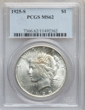 Peace Dollars: , 1925-S $1 MS62 PCGS. PCGS Population (1165/4271). NGC Census:(705/3233). Mintage: 1,610,000. Numismedia Wsl. Price for pro...