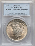 Peace Dollars, 1924 $1 MS61 PCGS. Vam-2 Double Reverse Top-50. PCGS Population(1/34). ...
