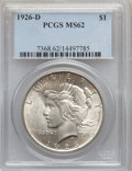 Peace Dollars: , 1926-D $1 MS62 PCGS. PCGS Population (720/3654). NGC Census:(347/2248). Mintage: 2,348,700. Numismedia Wsl. Price for prob...