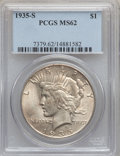 Peace Dollars: , 1935-S $1 MS62 PCGS. PCGS Population (544/3202). NGC Census:(371/1979). Mintage: 1,964,000. Numismedia Wsl. Price for prob...
