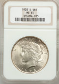 Peace Dollars: , 1928-S $1 MS61 NGC. NGC Census: (268/3313). PCGS Population(176/4680). Mintage: 1,632,000. Numismedia Wsl. Price for probl...