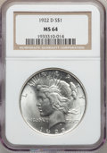Peace Dollars: , 1922-D $1 MS64 NGC. NGC Census: (2727/1151). PCGS Population(3156/1243). Mintage: 15,063,000. Numismedia Wsl. Price for pr...