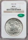 Peace Dollars: , 1924 $1 MS65 NGC. CAC. NGC Census: (7334/1415). PCGS Population(2904/537). Mintage: 11,811,000. Numismedia Wsl. Price for ...