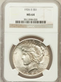 Peace Dollars: , 1926-S $1 MS64 NGC. NGC Census: (1759/425). PCGS Population(2024/663). Mintage: 6,980,000. Numismedia Wsl. Price for probl...