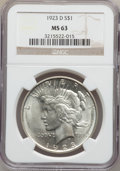 Peace Dollars: , 1923-D $1 MS63 NGC. NGC Census: (915/1260). PCGS Population(1492/1827). Mintage: 6,811,000. Numismedia Wsl. Price for prob...