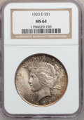 Peace Dollars: , 1923-D $1 MS64 NGC. NGC Census: (1002/258). PCGS Population(1348/479). Mintage: 6,811,000. Numismedia Wsl. Price for probl...