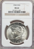 Peace Dollars: , 1926-S $1 MS64 NGC. NGC Census: (1757/425). PCGS Population(2017/659). Mintage: 6,980,000. Numismedia Wsl. Price for probl...