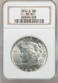 Peace Dollars: , 1934-D $1 MS62 NGC. NGC Census: (836/2164). PCGS Population(1007/3190). Mintage: 1,569,500. Numismedia Wsl. Price for prob...