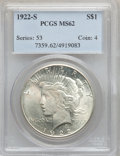 Peace Dollars, 1922-S $1 MS62 PCGS and 1922-S $1 MS62 NGC.... (Total: 2 coins)