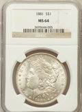 Morgan Dollars: , 1881 $1 MS64 NGC. NGC Census: (3900/681). PCGS Population(3959/1015). Mintage: 9,163,975. Numismedia Wsl. Price forproble...