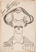 Autographs:Celebrities, Enrico Caruso Signed Caricature of Ignacy Jan Paderewski....