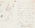 Autographs:Authors, Victor Hugo Autograph Letter Signed....
