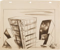 Animation Art:Production Drawing, Walter Lantz Productions Background Layout Drawing (Walter LantzProductions, 1950s)....