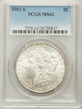 Morgan Dollars: , 1901-S $1 MS62 PCGS. PCGS Population (439/2104). NGC Census:(295/1179). Mintage: 2,284,000. Numismedia Wsl. Price for prob...