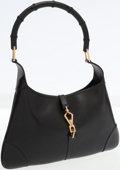 Luxury Accessories:Bags, Gucci Black Leather Jackie Shoulder Bag with Bamboo Strap. ...