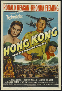 "Hong Kong (Paramount, 1951). One Sheet (27"" X 41""). Thriller. Starring Ronald Reagan, Rhonda Fleming, Nigel Br..."