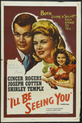 """Movie Posters:Drama, I'll Be Seeing You (United Artists, 1944). One Sheet (27"""" X 41""""). Drama. Starring Ginger Rogers, Joseph Cotten, Shirley Temp..."""