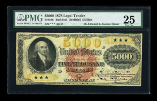 Featured item image of Fr. 188 $5000 1878 Legal Tender PMG Very Fine 25....