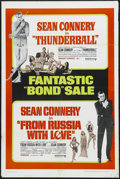 "Movie Posters:Action, Thunderball/From Russia With Love Combo (United Artists, R-1968).One Sheet (27"" X 41""). Action. Starring Sean Connery, Clau..."