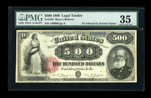 Featured item image of Fr. 185l $500 1880 Legal Tender PMG Choice Very Fine 35....