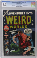 Golden Age (1938-1955):Horror, Adventures Into Weird Worlds #24 (Atlas, 1953) CGC VG/FN 5.0 Creamto off-white pages. Bill Everett hypodermic needle cover....