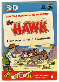 The Hawk 3-D #1 (St. John, 1953) Condition: VF. Matt Baker cover. Glasses included. Based on this copy's provenance, we...