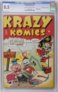 "Golden Age (1938-1955):Funny Animal, Krazy Komics #13 Davis Crippen (""D"" Copy) pedigree (Timely, 1944)CGC VF+ 8.5 Cream to off-white pages. Super Baby story. Hi..."