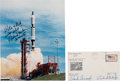 Explorers:Space Exploration, Gemini 11 Crew-Signed Launch Cover with Gordon-Signed Color Photo. ... (Total: 2 Items)