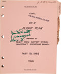 Explorers:Space Exploration, Gemini 4 Training-Used Final GT-4 Flight Plan Book Originally from the Personal Collection of Mission Command Pilo...