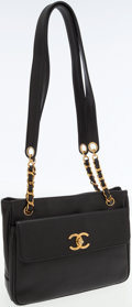 Luxury Accessories:Bags, Chanel Black Caviar Leather Classic Shoulder Bag with Chain Straps....
