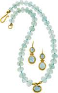 Estate Jewelry:Suites, Aquamarine, Gold Jewelry Suite. ...