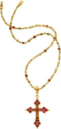 Estate Jewelry:Necklaces, Ruby, Gold Pendant-Necklace, Loree Rodkin. ...