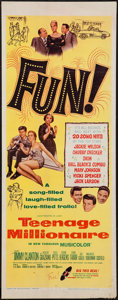 "Movie Posters:Rock and Roll, Teenage Millionaire (United Artists, 1961). Insert (14"" X 36""). Rock and Roll.. ..."
