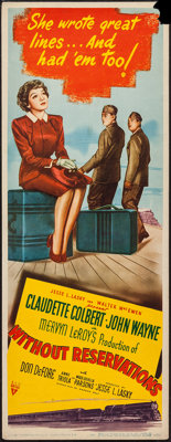 """Without Reservations (RKO, 1946). Insert (14"""" X 36""""). Comedy"""
