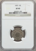 Shield Nickels: , 1872 5C XF45 NGC. NGC Census: (7/220). PCGS Population (14/295).Mintage: 6,036,000. Numismedia Wsl. Price for problem free...